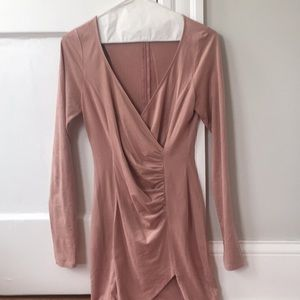 Forever 21 Dresses - Pale pink suede bodycon v-neck dress size small